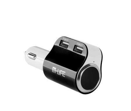 Ładowarka samochodowa M life dual USB 3.1A + gniazdo zapalniczki czarna